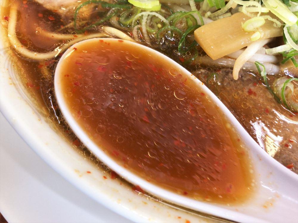 ラーメン 第二旭「ピリカラ」のスープ