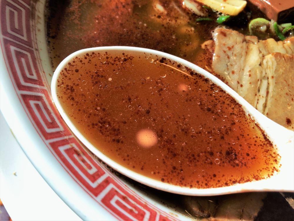 幸楽苑 志都呂店「チョコレートラーメン」のスープ