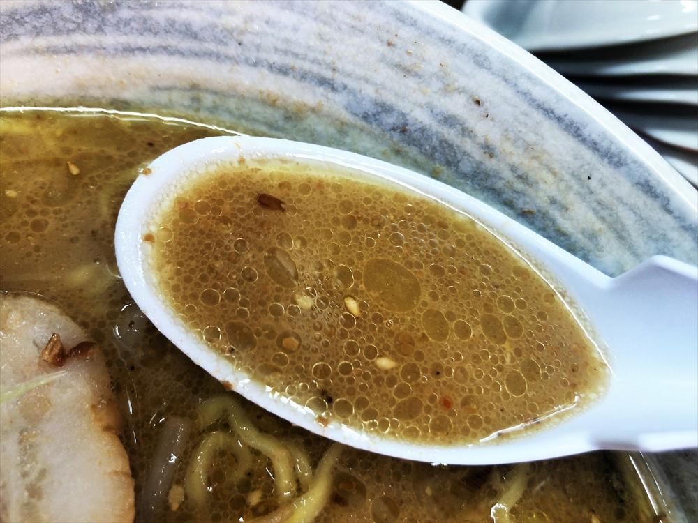 ラーメン 火の車 大喜「火の車ラーメン 浜しお」スープ
