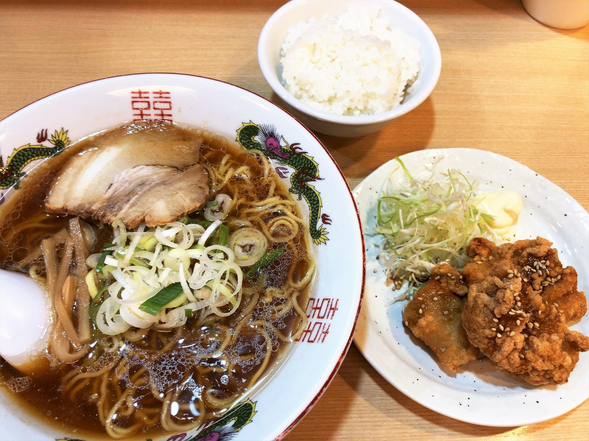 中華そば まるしょう「鶏の唐揚げセット」